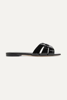 Saint Laurent Nu Pieds Woven Patent-leather Slides - Black