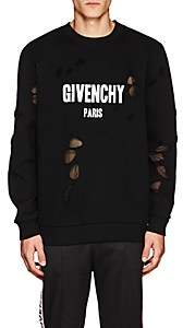 Givenchy Men's Logo-Print Distressed Cotton Sweatshirt-Black