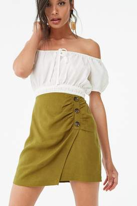 21923359388f9 Forever 21 Asymmetrical Button-Front Skirt