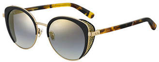 Jimmy Choo Gabby Mirrored Metal & Acetate Cat-Eye Sunglasses