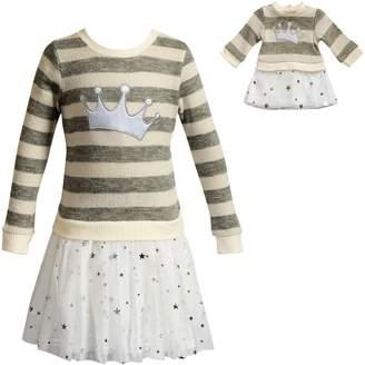 Dollie & Me Girls 4-14 Striped Crown Dress Set