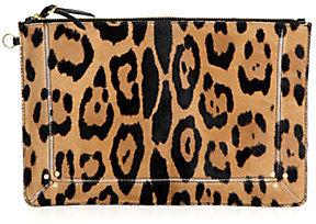 Jerome Dreyfuss Popoche Large Leopard-Print Calf Hair Clutch