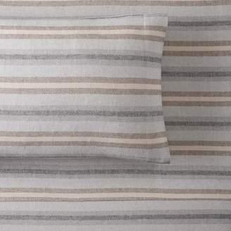 Pottery Barn Teen Rustic Stripe Organic Flannel Sheet Set, Extra Pillowcases, Set of 2, Golden Brown