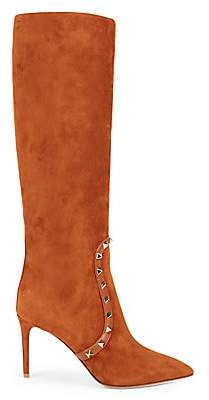 Valentino Women's Rockstud Suede High-Heel Tall Boots