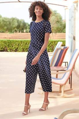 Next Womens Navy/White Spot Jumpsuit