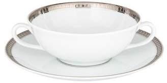 Christofle 16-Piece Malmaison Platinum Cream Soup Cups & Saucers Set