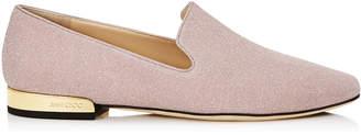 Jimmy Choo JAIDA FLAT Ballet Pink Fine Glitter Fabric Square Toe Slippers
