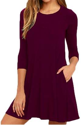 OMZIN Ladies 3/4 Sleeves Pocket Casual Loose Fit T-Shirt Dress Purple,S