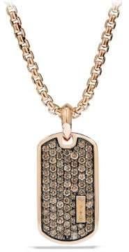 David Yurman Pave Tag With Cognac Diamonds In 18K Rose Gold