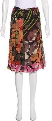Dries Van Noten Silk Camo Print Skirt