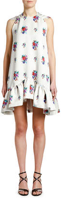 MSGM High-Neck Floral Shift Dress with Bow