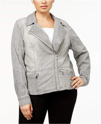 INC International Concepts I.n.c. Plus Size Studded Moto Jacket, Created for Macy's