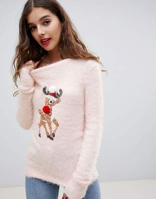 Brave Soul fluffy christmas sweater with sequin reindeer