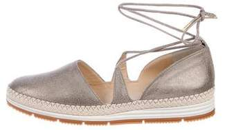 Paul Green Leather Lace-Up Espadrilles