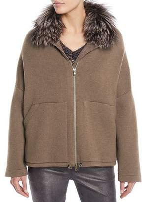 Brunello Cucinelli Fox-Fur Collar Zip-Front Cashmere Jacket