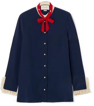 Gucci Pussy-bow Ruffled Silk Blouse - Navy
