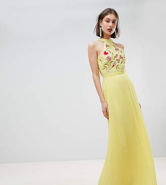 Frock and Frill Embroidered Top Pleated Maxi Dress