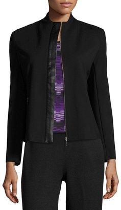 Ming Wang Faux-Leather Trim Knit Jacket, Black $175 thestylecure.com