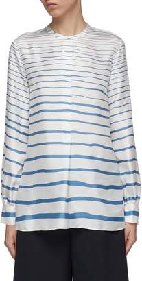 Theory Band collar stripe silk twill tunic shirt