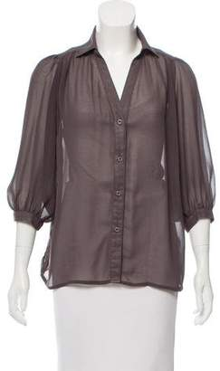 Blaque Label Silk Button-Up Top