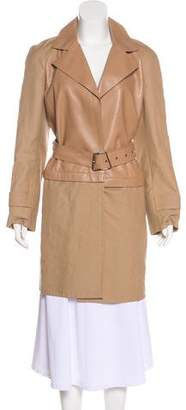 Akris Leather-Accented Trench Coat