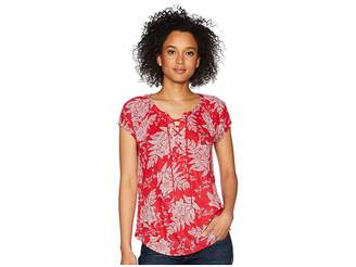 Chaps Floral Lace-Up Jersey Top Women's Clothing