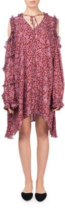 Magda Butrym Zagreb Floral-Print Open-Shoulder Silk Dress w\/ Ruffled Trim