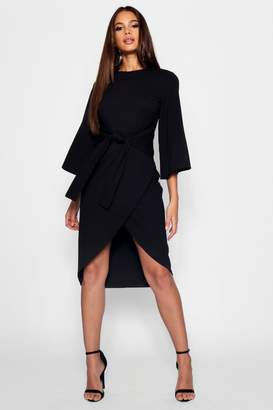 boohoo Tall Kimono Sleeve Wrap Midi Dress