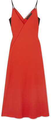 Roland Mouret Hooper Wrap-effect Wool-crepe Midi Dress - Red