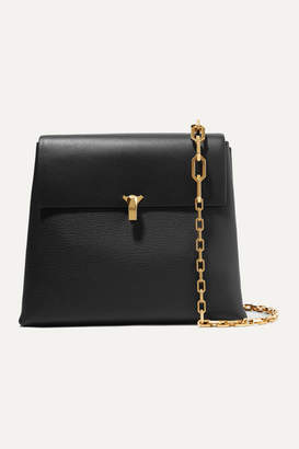 THE VOLON Po Day Smooth And Textured-leather Shoulder Bag - Black