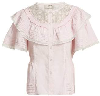 Sea Crochet Lace Trimmed Cotton Top - Womens - Pink