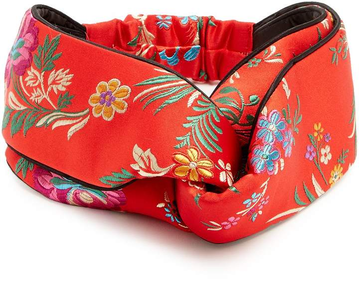 Gucci GUCCI Floral-embroidered satin headband