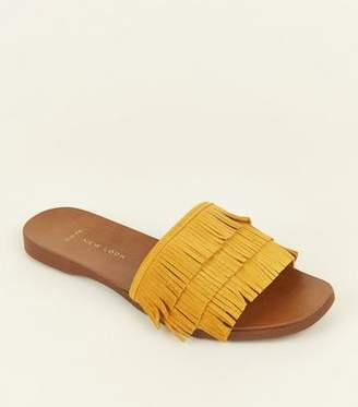 New Look Wide Fit Mustard Suede Fringed Sliders