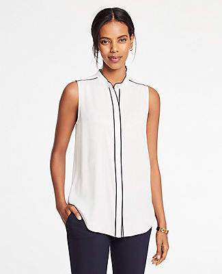 Ann Taylor Piped Button Down Shell