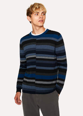 Paul Smith Men's Navy Wool Sweater With Multi-Coloured Stripes