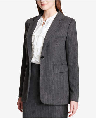 Tommy Hilfiger Pinstriped One-Button Knit Jacket