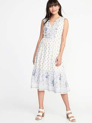 Old Navy Fit & Flare Tie-Neck Midi Dress for Women