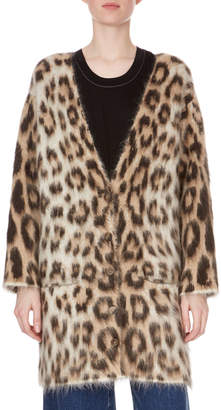 Loewe Button-Front Leopard-Print Mohair Oversized Cardigan