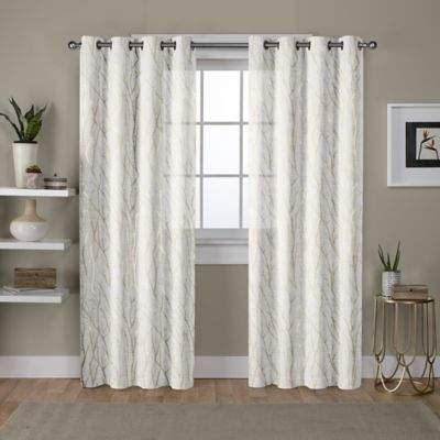 Exclusive Home Woodland 108-Inch Grommet Window Curtain Panel Pair in White