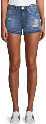 Blank NYC Distressed Denim Cutoff Shorts with Released Hem