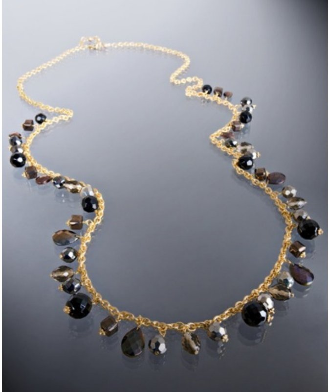 Rachel Reinhardt grey glass bead cluster long necklace