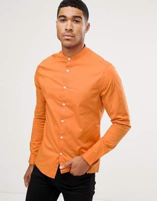 Asos DESIGN skinny shirt with grandad collar in orange