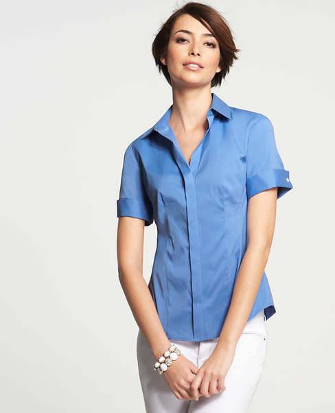 Ann Taylor Perfect Stretch Cotton Short Sleeve Shirt