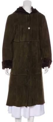 Michael Kors Shearling Long Coat Olive Shearling Long Coat