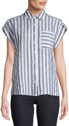 Lord & Taylor Petite Stripe Linen Button-Down Shirt