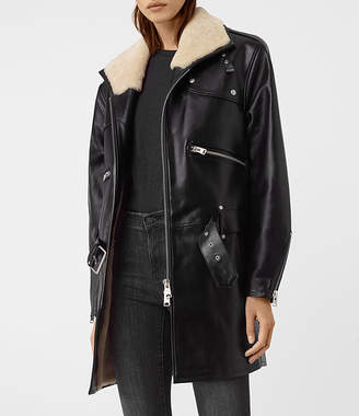 AllSaints Collins Leather Shearling Coat