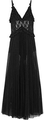 Christopher Kane Open-Back Pleated Lace And Point D'esprit Maxi Dress