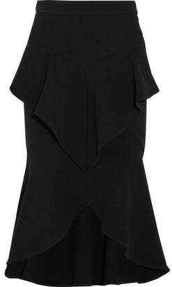 Rebecca Vallance Steffania Ruffled Wool-blend Crepe Skirt - Black
