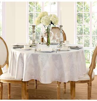 "Elrene Barcelona Damask White 60"" x 84"" Oval Tablecloth"