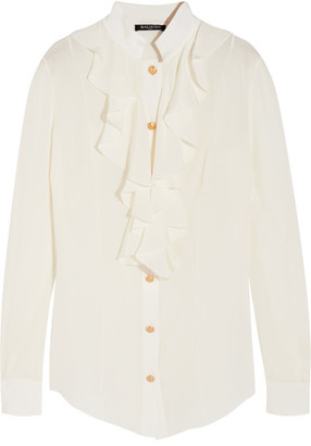 Balmain - Ruffled Silk Crepe De Chine Blouse - White $1,930 thestylecure.com
